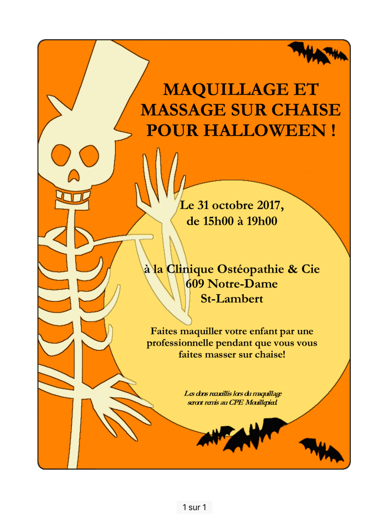 maquillage massage halloween 2017